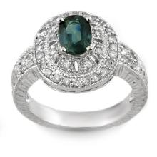 2.08 CTW Blue Sapphire & Diamond Ring 18K White Gold - REF-96M5F - 10991