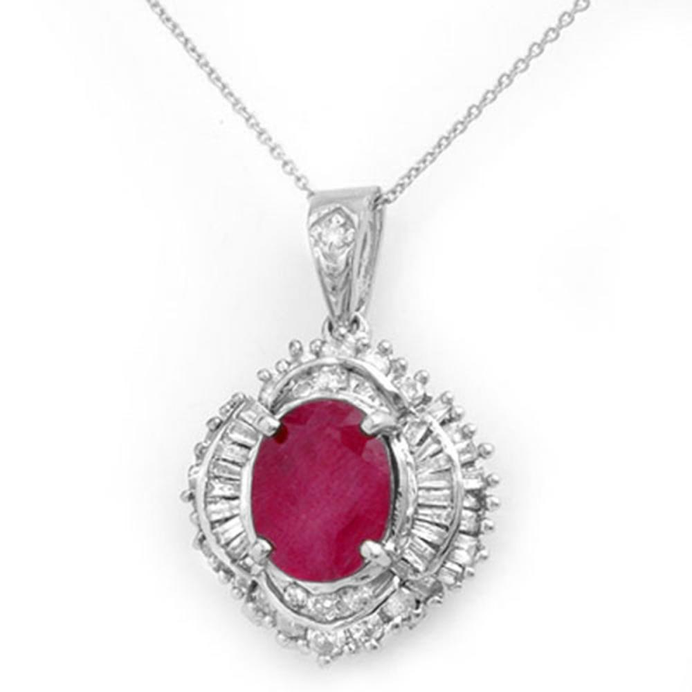 6.26 ctw Ruby & Diamond Pendant 18K White Gold - REF-178W2F - SKU:13030