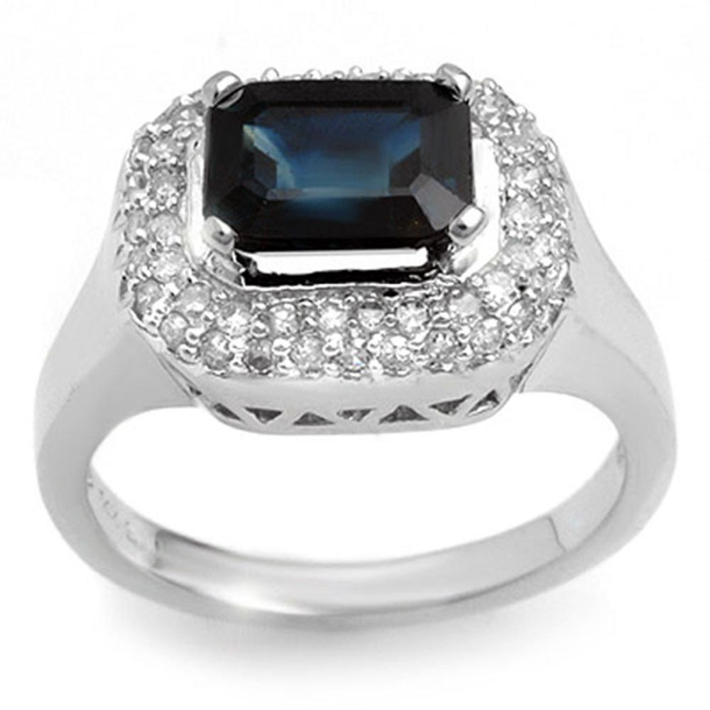 2.90 ctw Blue Sapphire & Diamond Ring 14K White Gold - REF-63N3P - SKU:10630