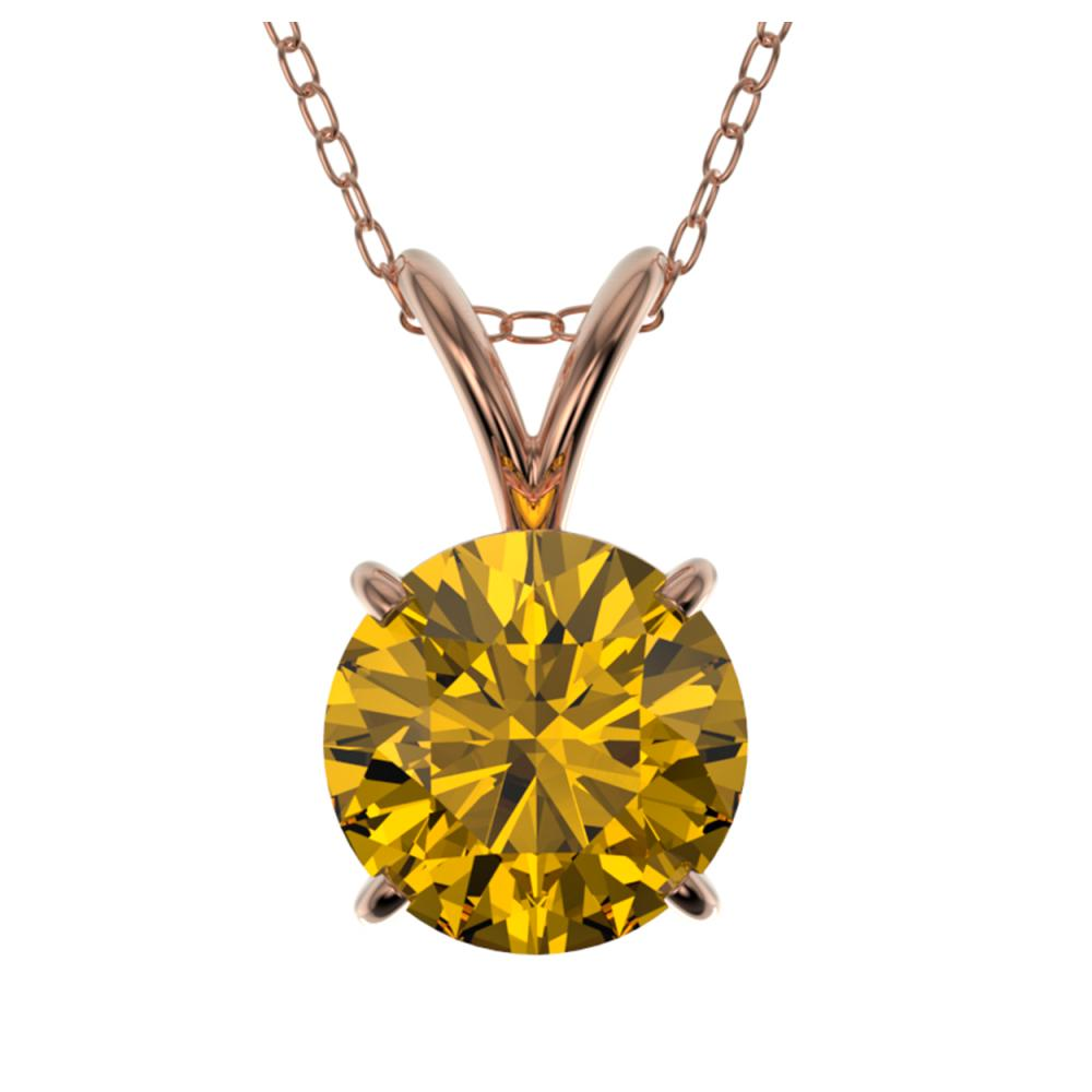 1.27 ctw Intense Yellow SI Diamond Necklace 10K Rose Gold - REF-240R2H - SKU:36795