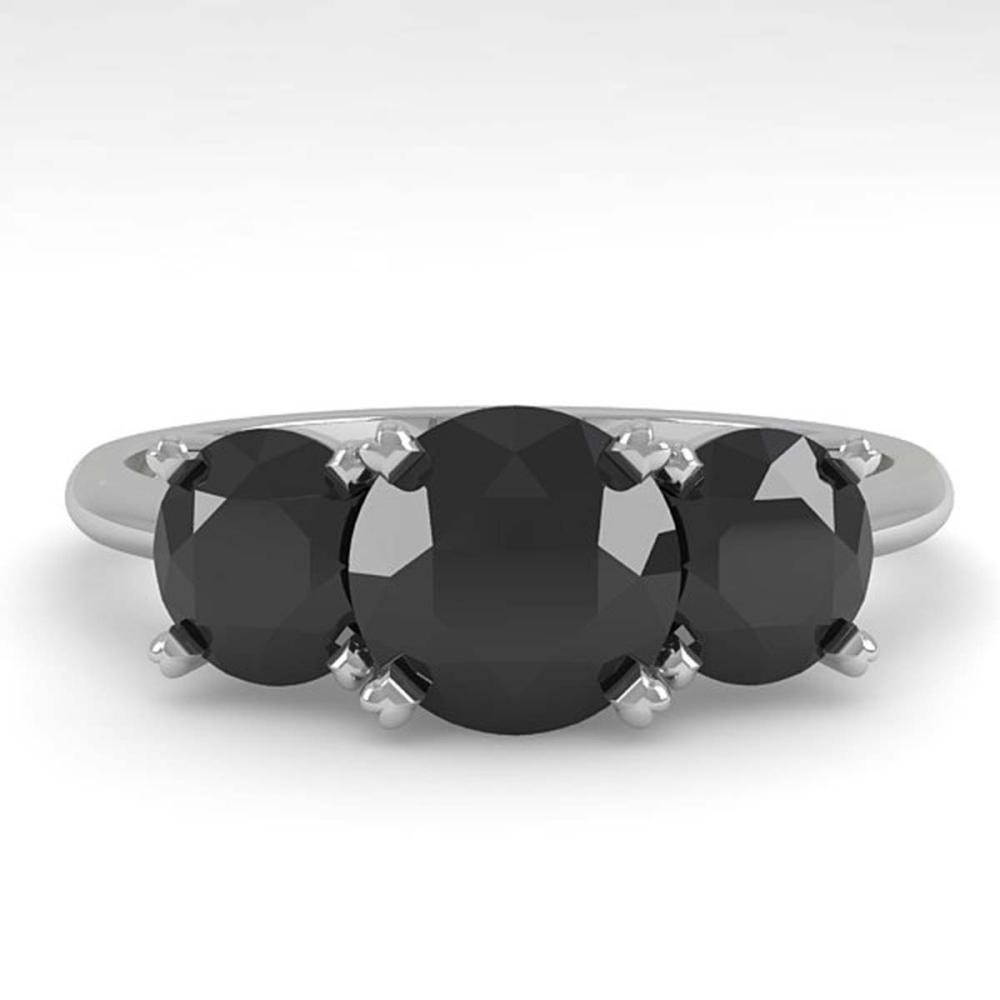 2 ctw Black Diamond Past Present Future Designer Ring 18K White Gold - REF-67F5M - SKU:32466