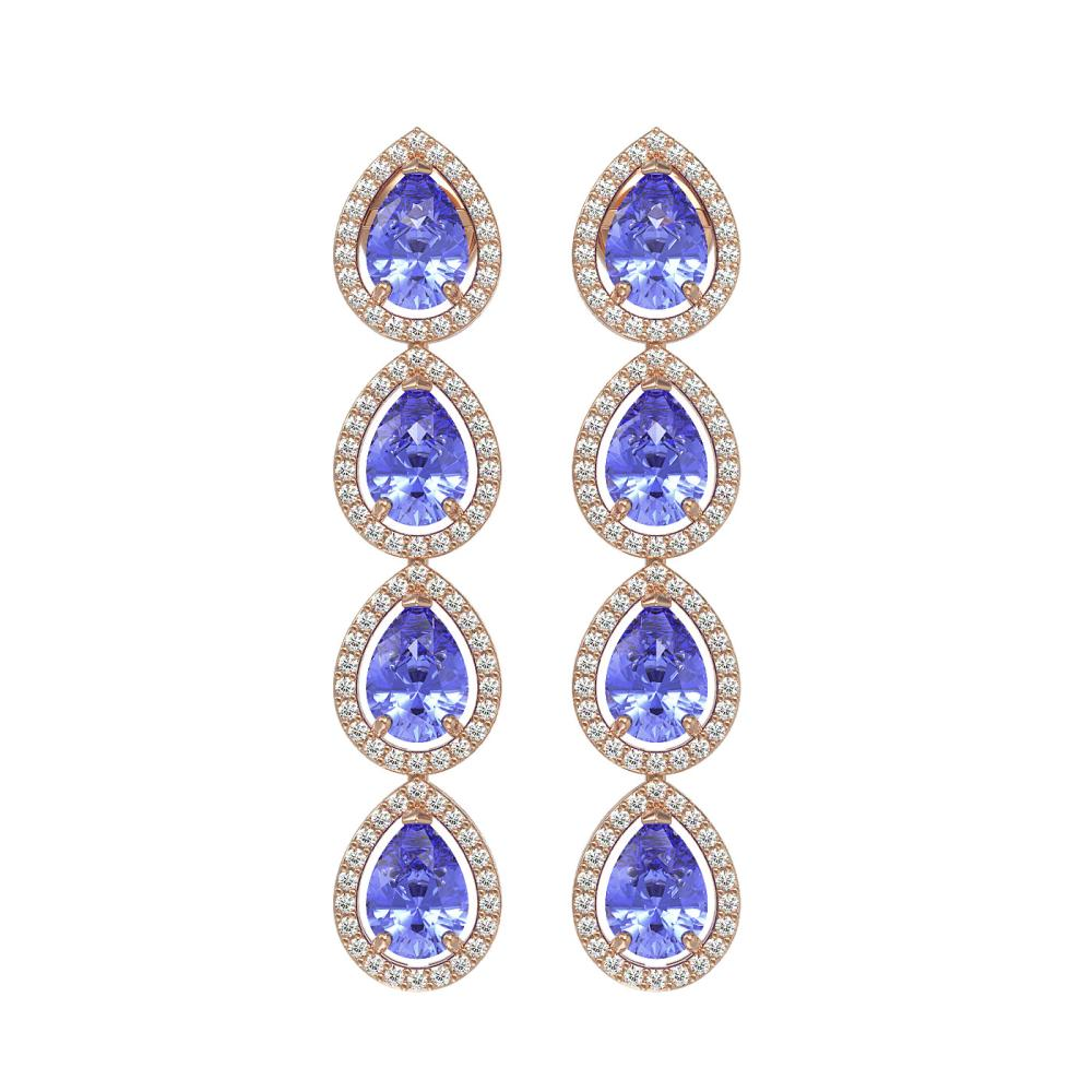 9.01 ctw Tanzanite & Diamond Halo Earrings 10K Rose Gold - REF-193M6A - SKU:41148