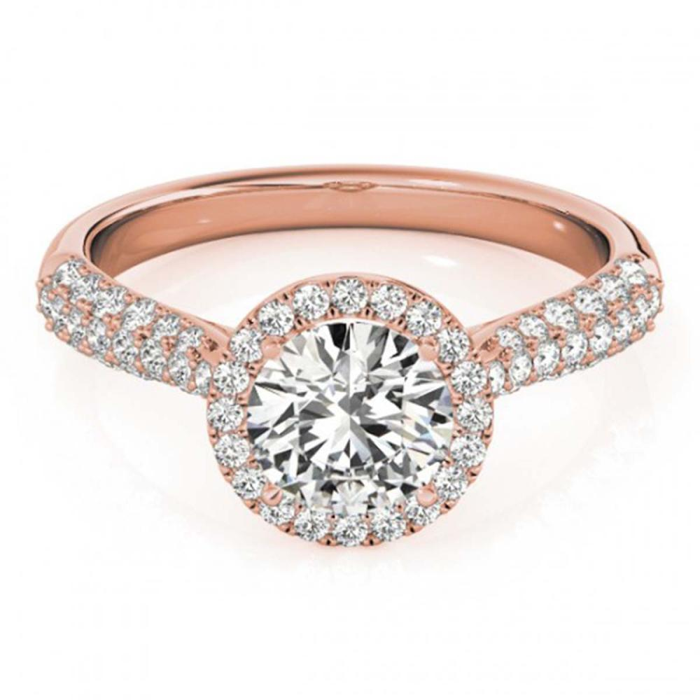 1.4 ctw VS/SI Diamond Halo Ring 18K Rose Gold - REF-380M2A - SKU:26186