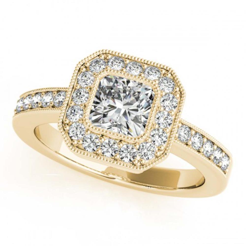 0.80 ctw VS/SI Cushion Diamond Halo Ring 18K Yellow Gold - REF-161X3Y - SKU:27176