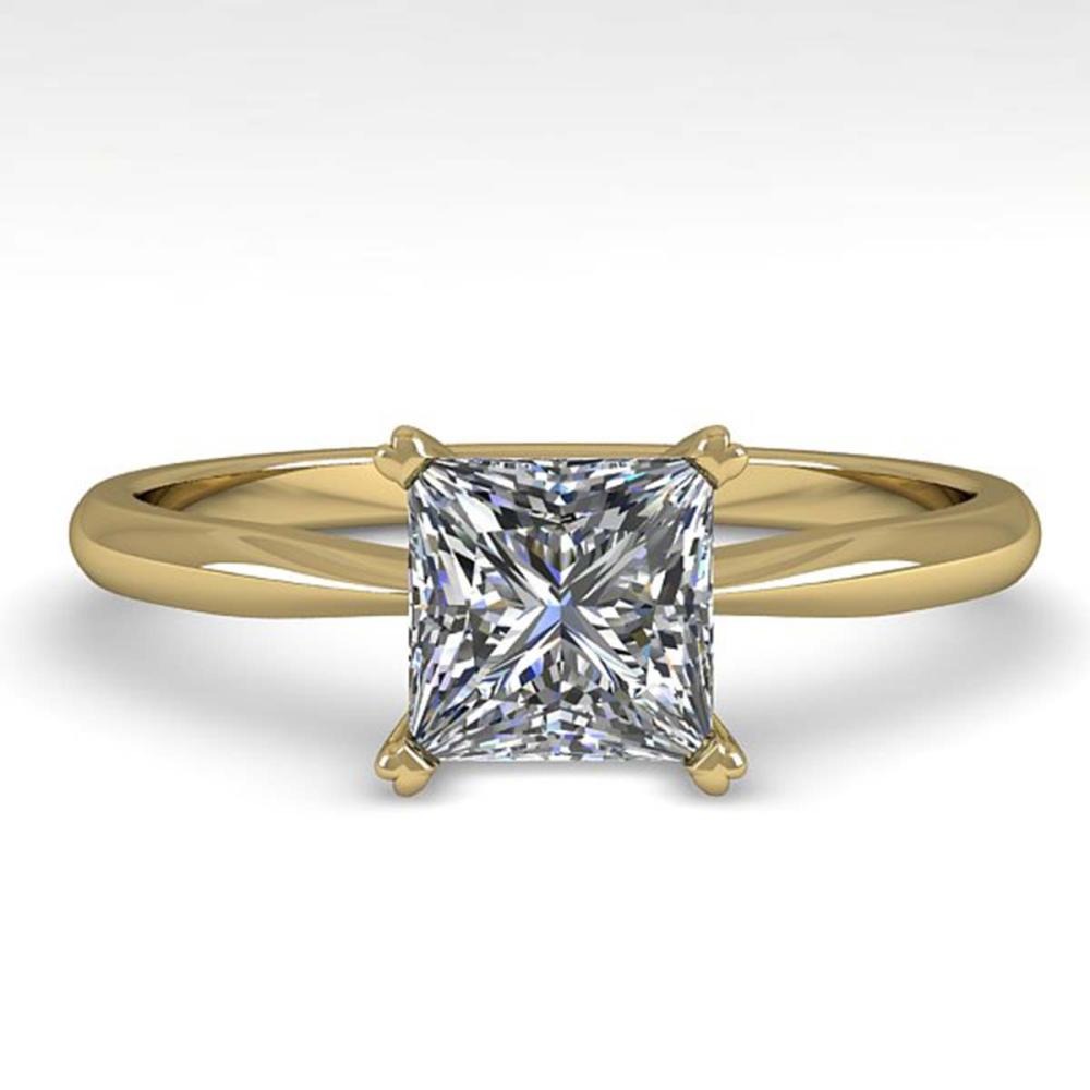 1 ctw Princess Cut VS/SI Diamond Engagement Ring 18K Yellow Gold - REF-285M2A - SKU:32416