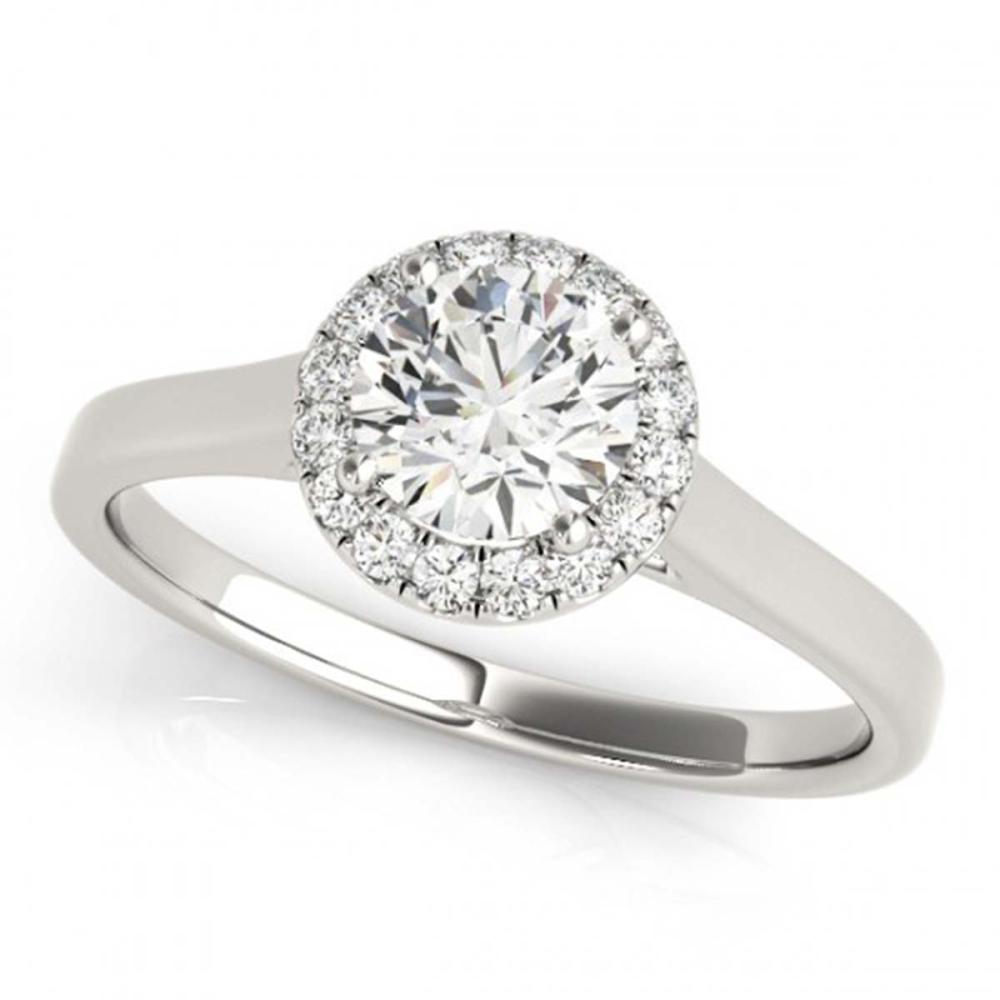 0.85 ctw VS/SI Diamond Halo Ring 18K White Gold - REF-180P2X - SKU:26590