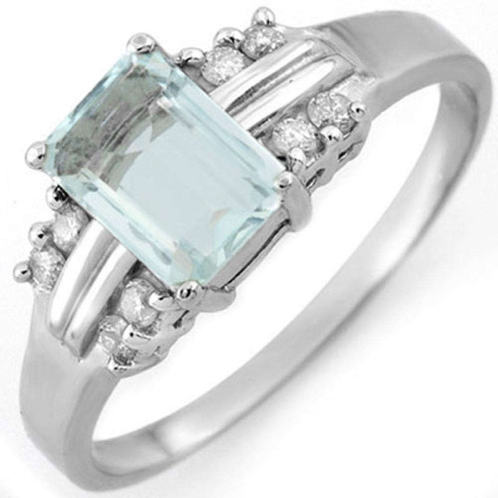 1.41 ctw Aquamarine & Diamond Ring 18K White Gold - REF-42H7W - SKU:10589