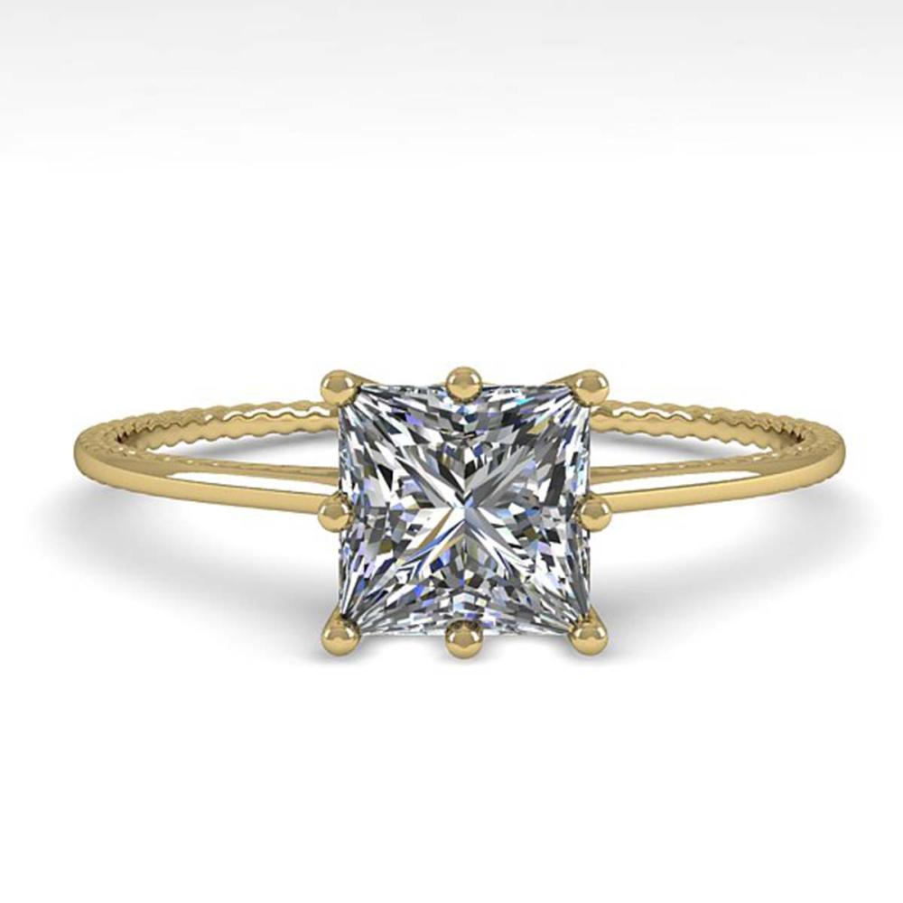 1.0 ctw VS/SI Princess Diamond Engagement Ring 18K Yellow Gold - REF-287A4N - SKU:35896