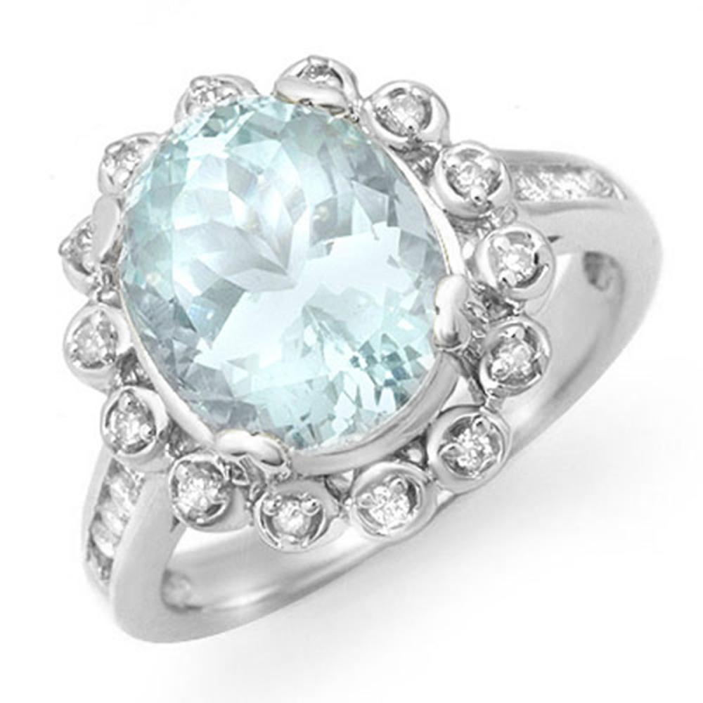 5.33 ctw Aquamarine & Diamond Ring 10K White Gold - REF-81R8H - SKU:14502