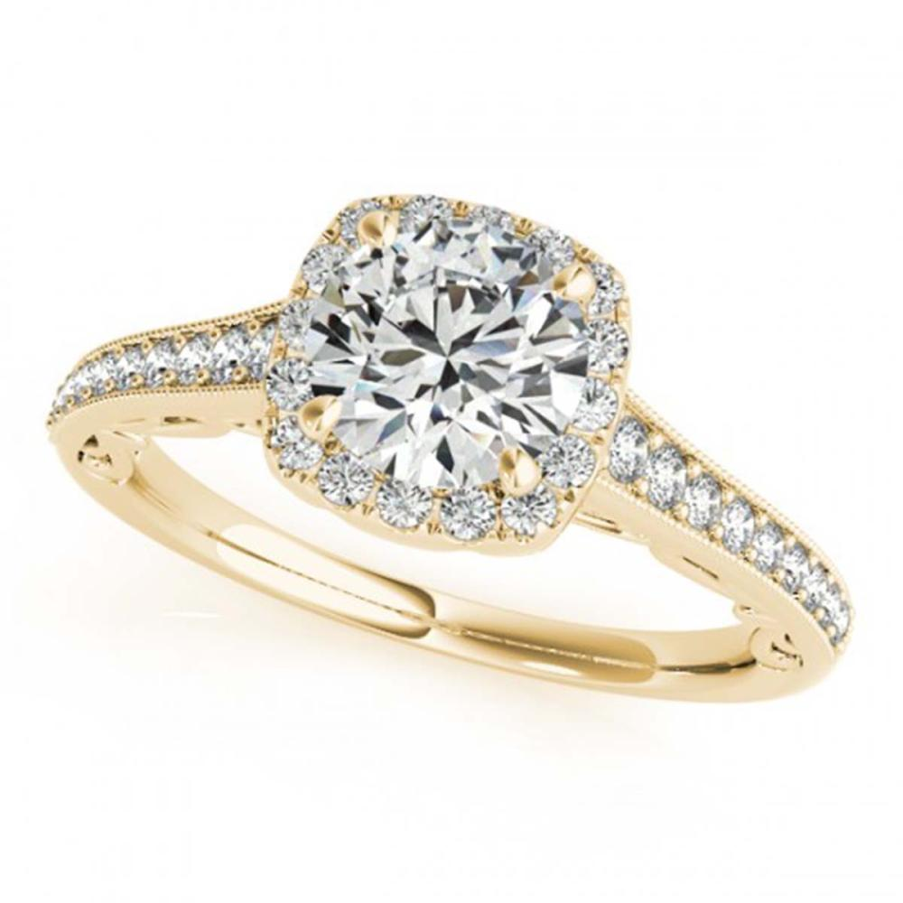 0.75 ctw VS/SI Diamond Halo Ring 18K Yellow Gold - REF-98N4P - SKU:26541