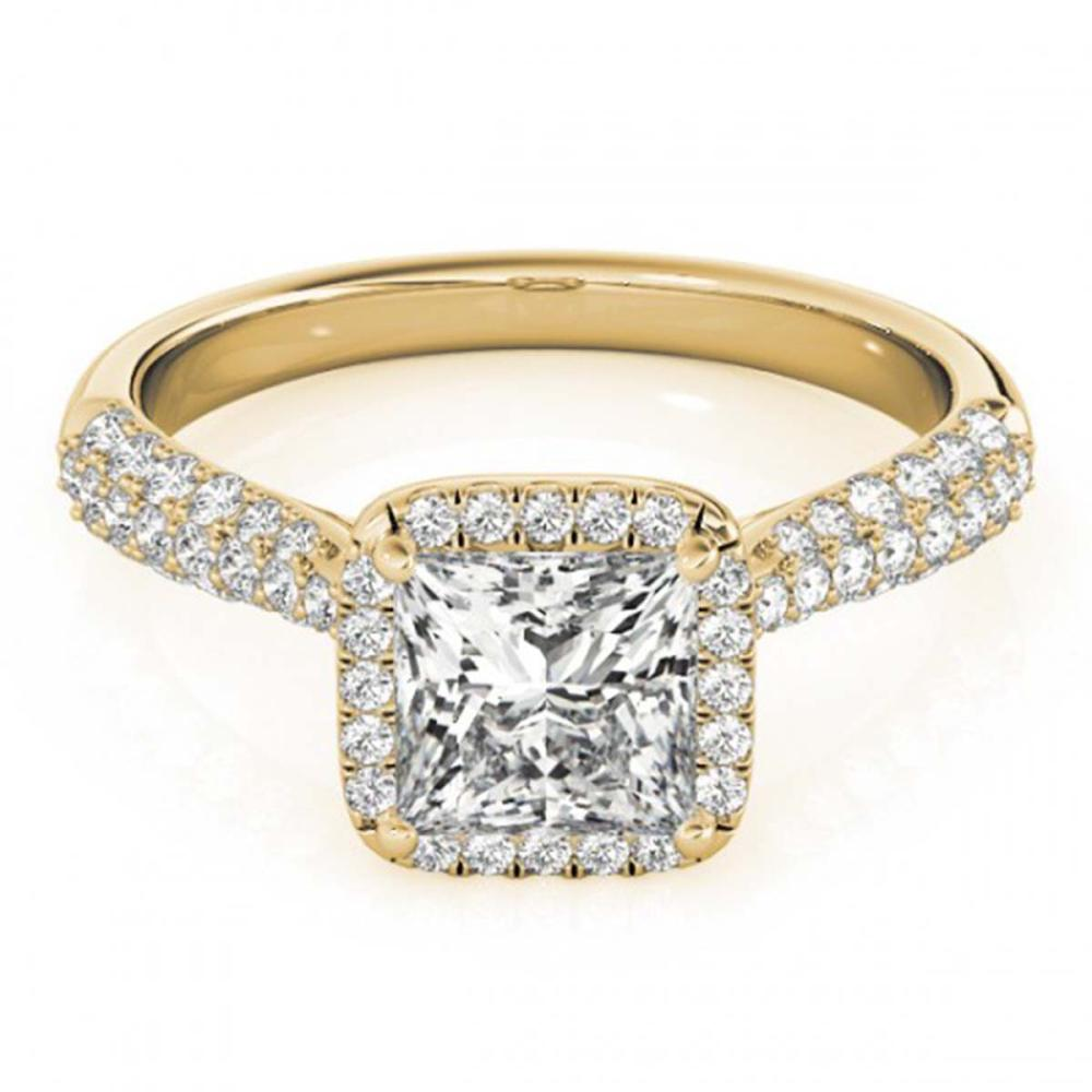 1.15 ctw VS/SI Princess Diamond Halo Ring 18K Yellow Gold - REF-163K6R - SKU:27095
