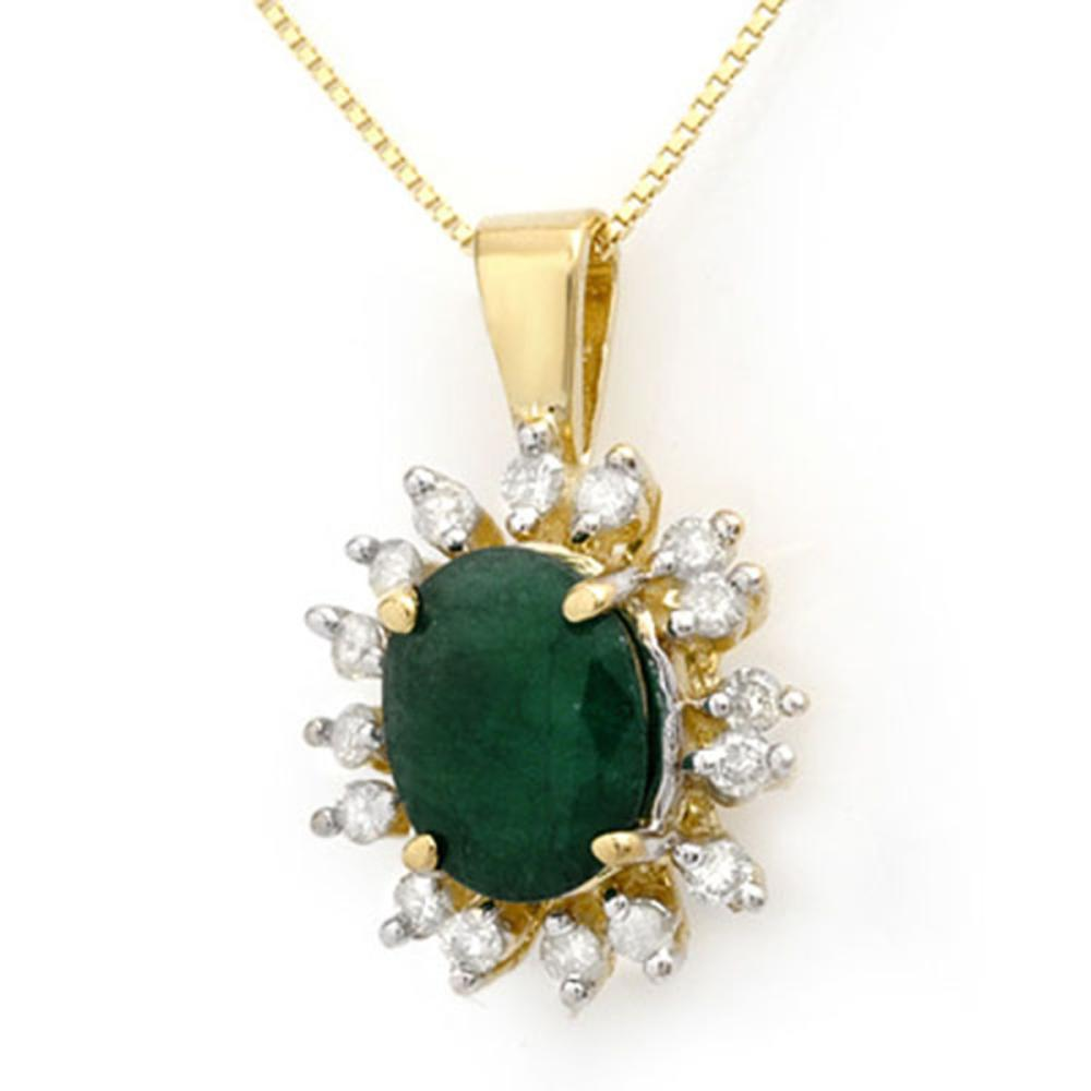 4.20 ctw Emerald & Diamond Pendant 10K Yellow Gold - REF-70R2H - SKU:13605