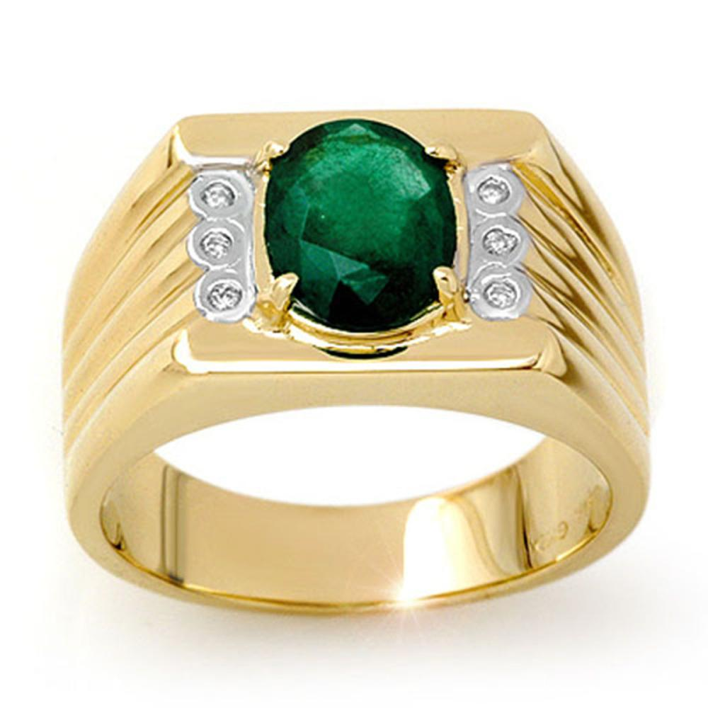 2.06 ctw Emerald & Diamond Men's Ring 10K Yellow Gold - REF-63F6M - SKU:13513