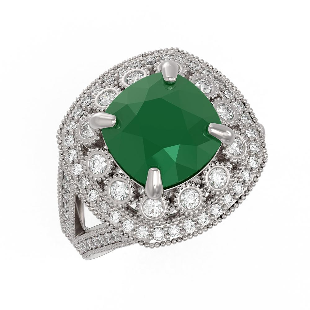 6.47 ctw Emerald & Diamond Victorian Ring 14K White Gold - REF-152P2X - SKU:43928
