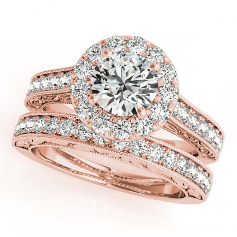 2.11 ctw VS/SI Diamond 2pc Wedding Set Halo 14K Rose Gold - REF-432Y7K - SKU:30952