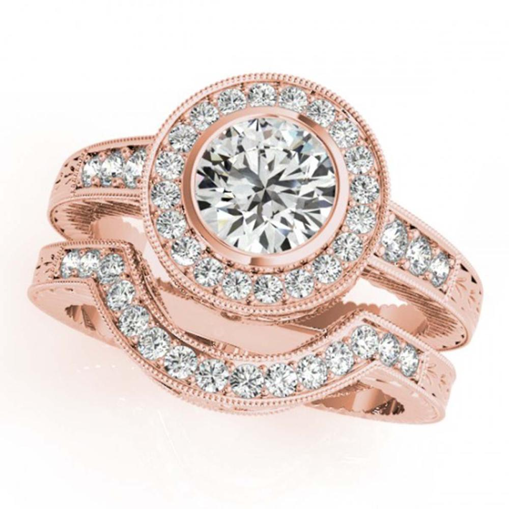 1.3 ctw VS/SI Diamond 2pc Wedding Set Halo 14K Rose Gold - REF-228K7R - SKU:31047