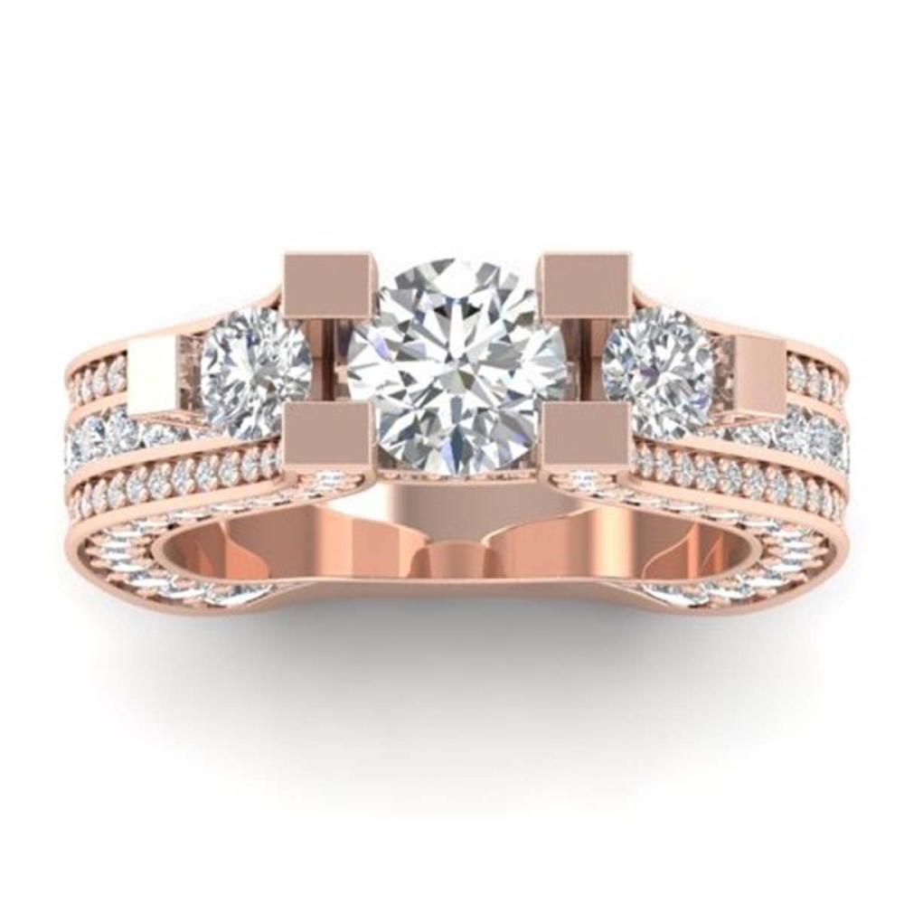 5.5 ctw VS/SI Diamond Art Deco 3-Stone Ring 14K Rose Gold - REF-559X2Y - SKU:30295