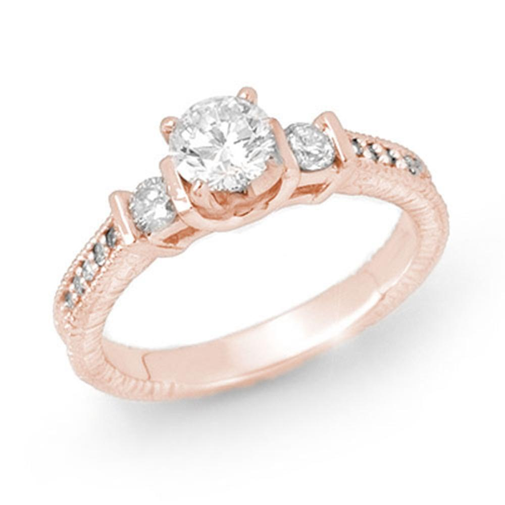 0.90 ctw VS/SI Diamond Solitaire Ring 14K Rose Gold - REF-131A8N - SKU:14259