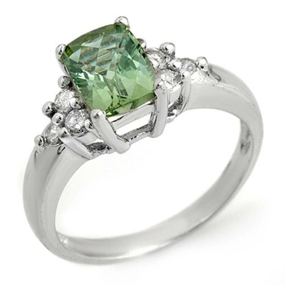 2.55 ctw Green Tourmaline & Diamond Ring 10K White Gold - REF-45F8M - SKU:10334