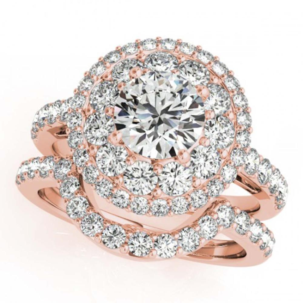 2.55 ctw VS/SI Diamond 2pc Wedding Set Halo 14K Rose Gold - REF-455H6W - SKU:30937