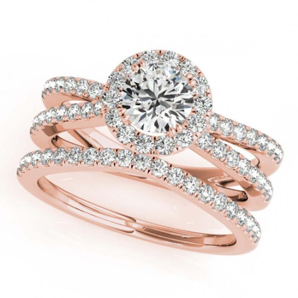 1.78 ctw VS/SI Diamond 2pc Wedding Set Halo 14K Rose Gold - REF-407R8H - SKU:31021