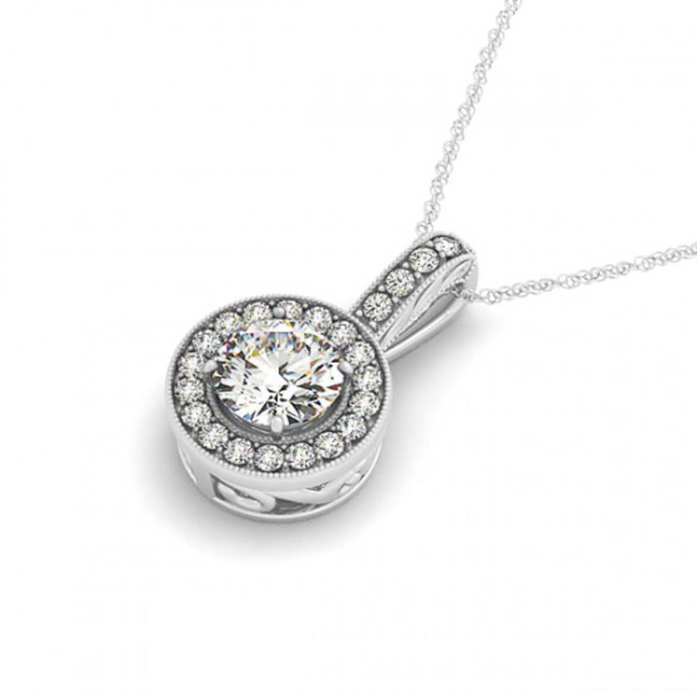1.6 ctw VS/SI Diamond Solitaire Halo Necklace 14K White Gold - REF-396X9Y - SKU:30010
