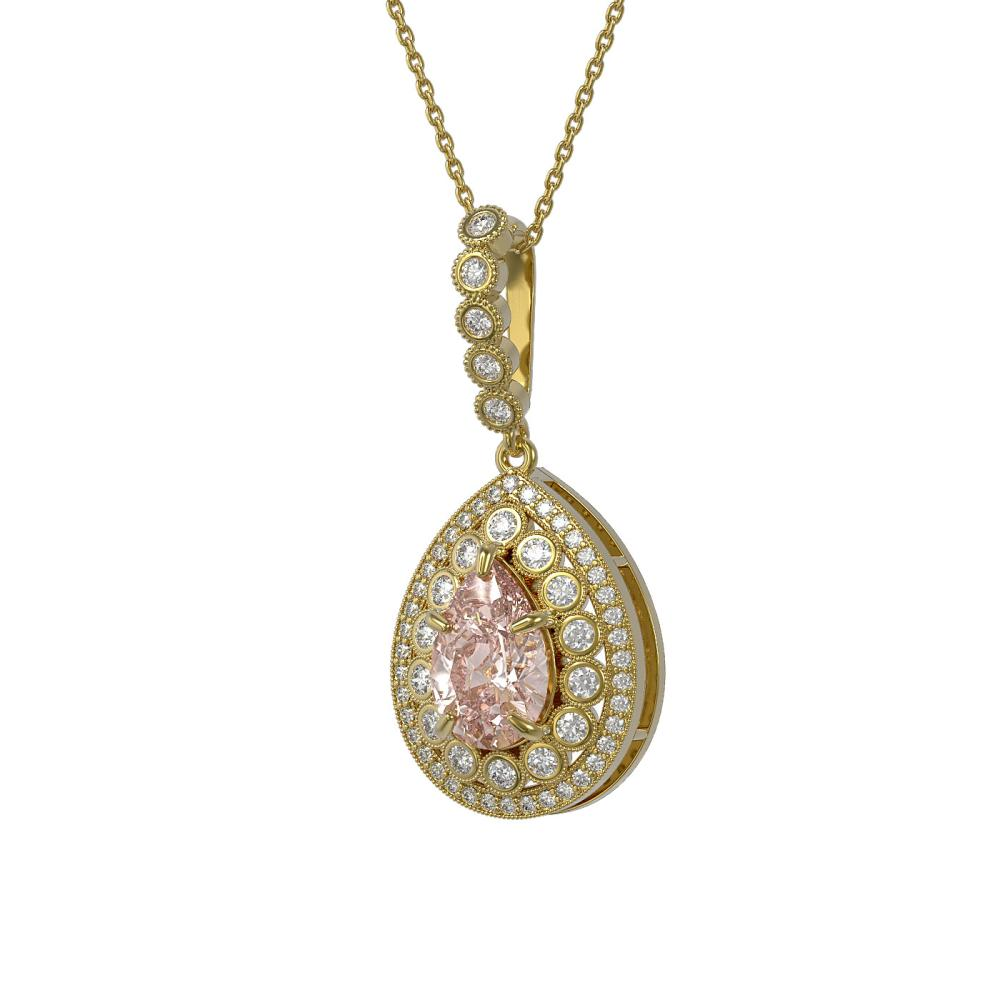 4.17 ctw Morganite & Diamond Victorian Necklace 14K Yellow Gold - REF-186Y9K - SKU:43225