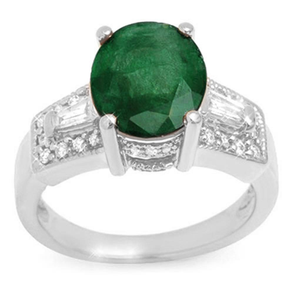 4.55 ctw Emerald & Diamond Ladies Ring 14K White Gold - REF-105X5Y - SKU:10957