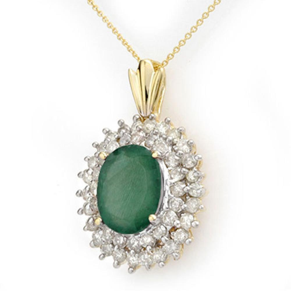 10.11 ctw Emerald & Diamond Pendant 14K Yellow Gold - REF-230X9Y - SKU:14206