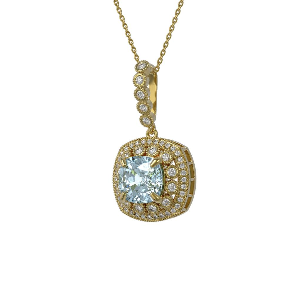 5.28 ctw Aquamarine & Diamond Victorian Necklace 14K Yellow Gold - REF-162H9W - SKU:44014
