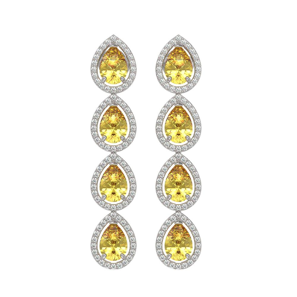 7.48 ctw Fancy Citrine & Diamond Halo Earrings 10K White Gold - REF-136P9X - SKU:41180