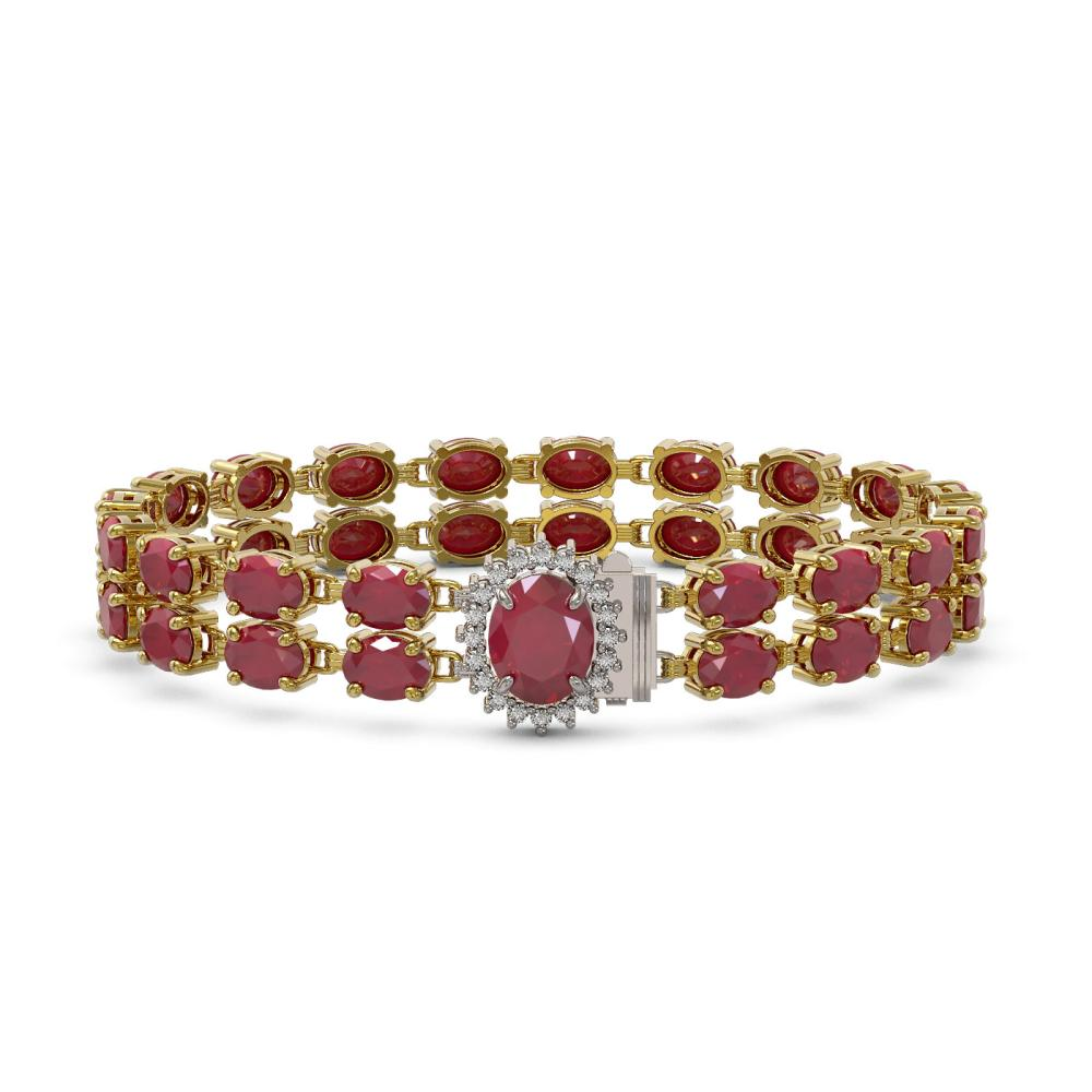 30.12 ctw Ruby & Diamond Bracelet 14K Yellow Gold - REF-196W8F - SKU:45484