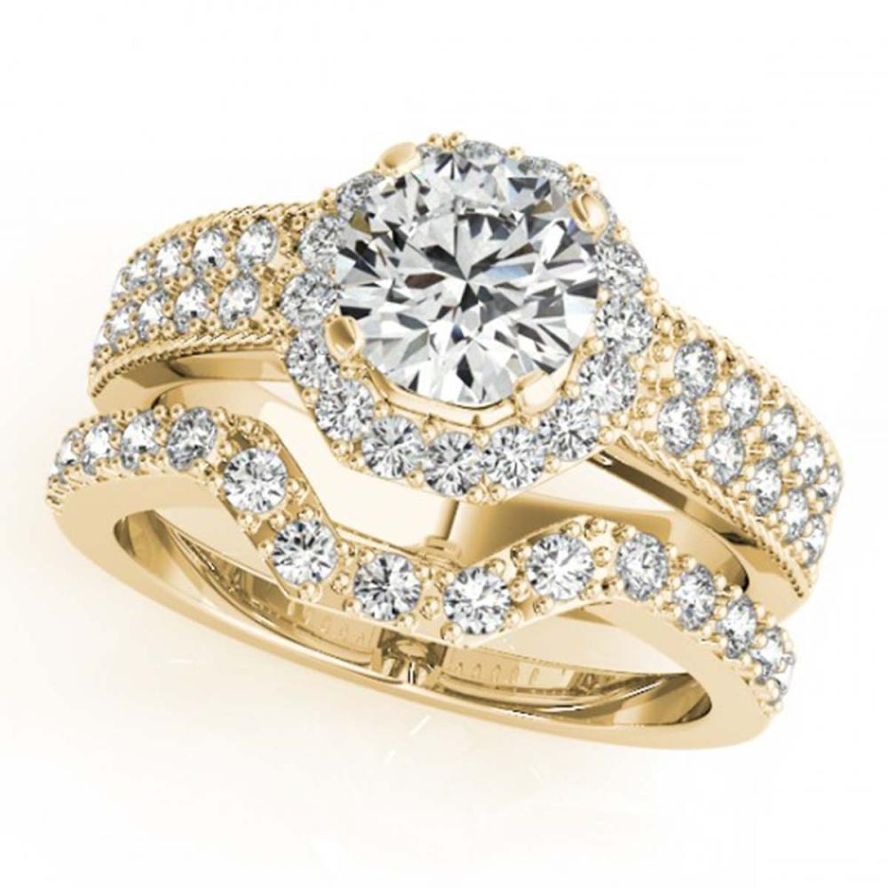 1.4 ctw VS/SI Diamond 2pc Wedding Set Halo 14K Yellow Gold - REF-233W3F - SKU:31324