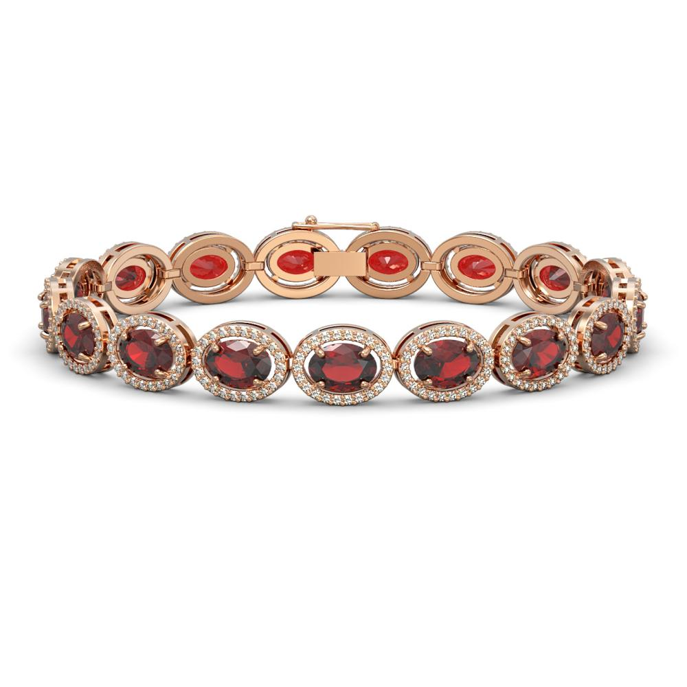 21.98 ctw Garnet & Diamond Halo Bracelet 10K Rose Gold - REF-247R6H - SKU:40647