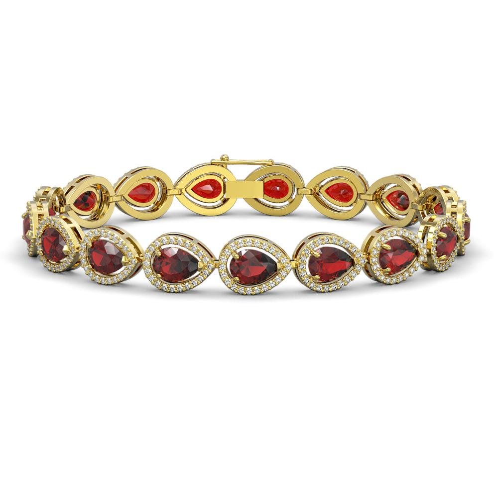 17.44 ctw Garnet & Diamond Halo Bracelet 10K Yellow Gold - REF-272Y2K - SKU:41137