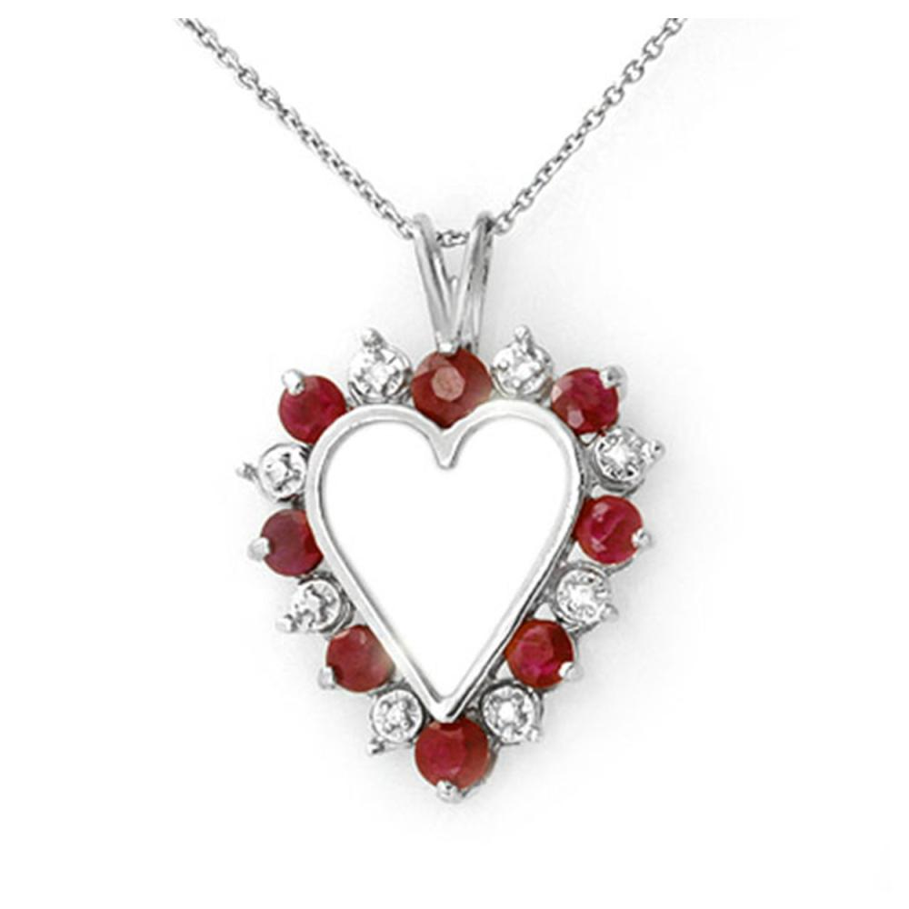 1.01 ctw Ruby & Diamond Pendant 18K White Gold - REF-42W4F - SKU:12613