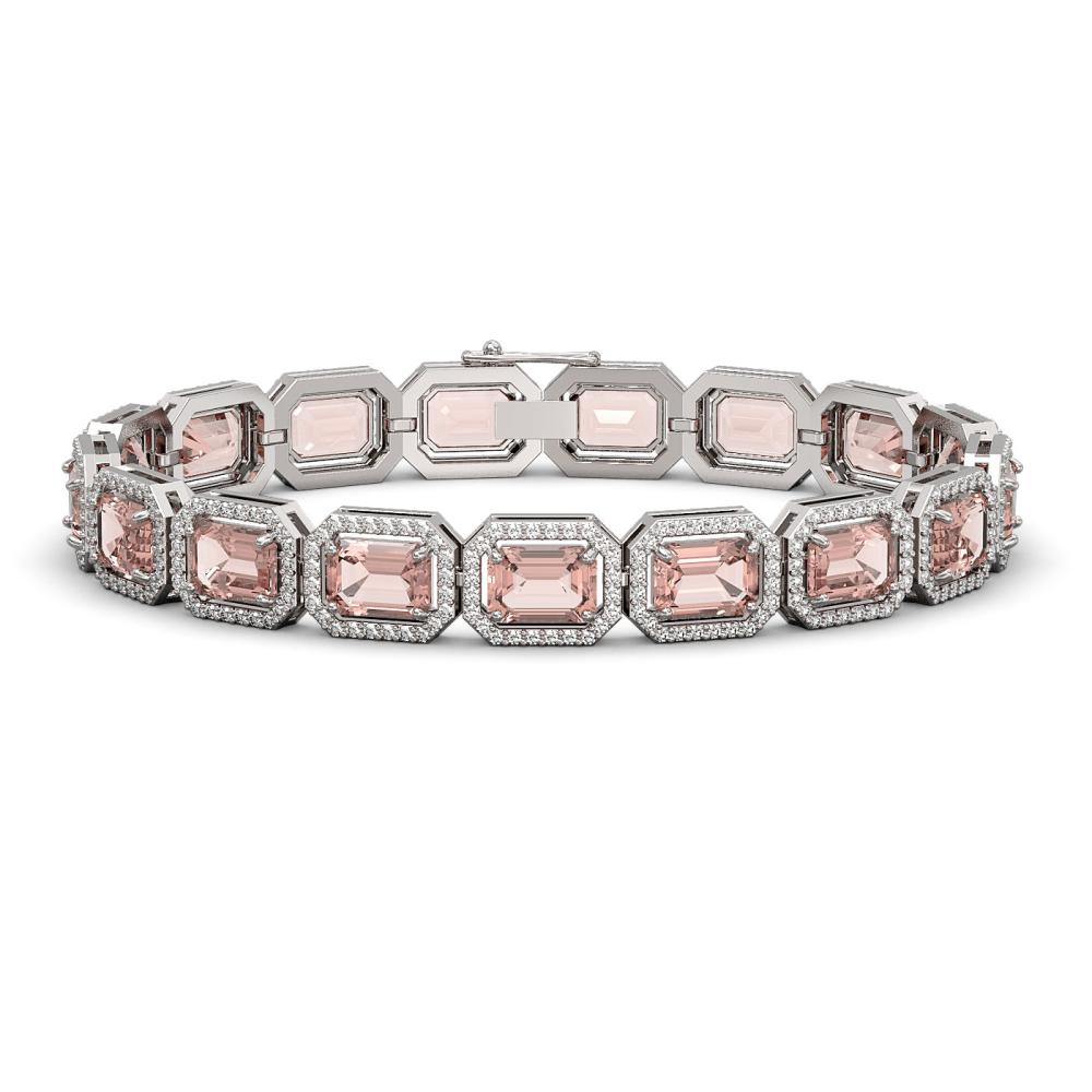 22.81 ctw Morganite & Diamond Halo Bracelet 10K White Gold - REF-569A6N - SKU:41390