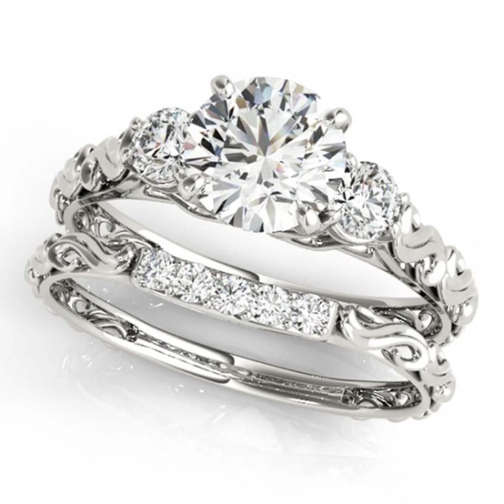 0.89 ctw VS/SI Diamond 3-Stone 2pc Wedding Set 14K White Gold - REF-119R8H - SKU:32048