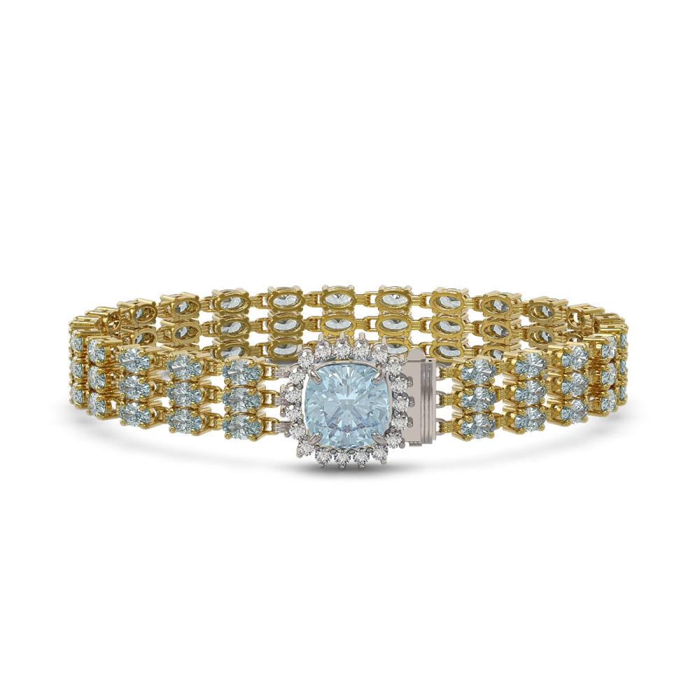 29.89 ctw Sky Topaz & Diamond Bracelet 14K Yellow Gold - REF-232K9R - SKU:45910