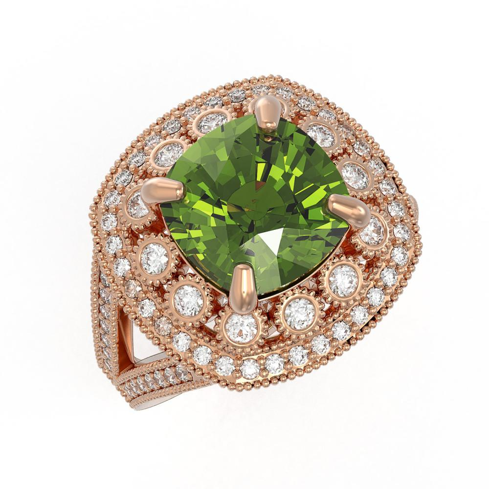 7.07 ctw Tourmaline & Diamond Victorian Ring 14K Rose Gold - REF-181H5W - SKU:43947