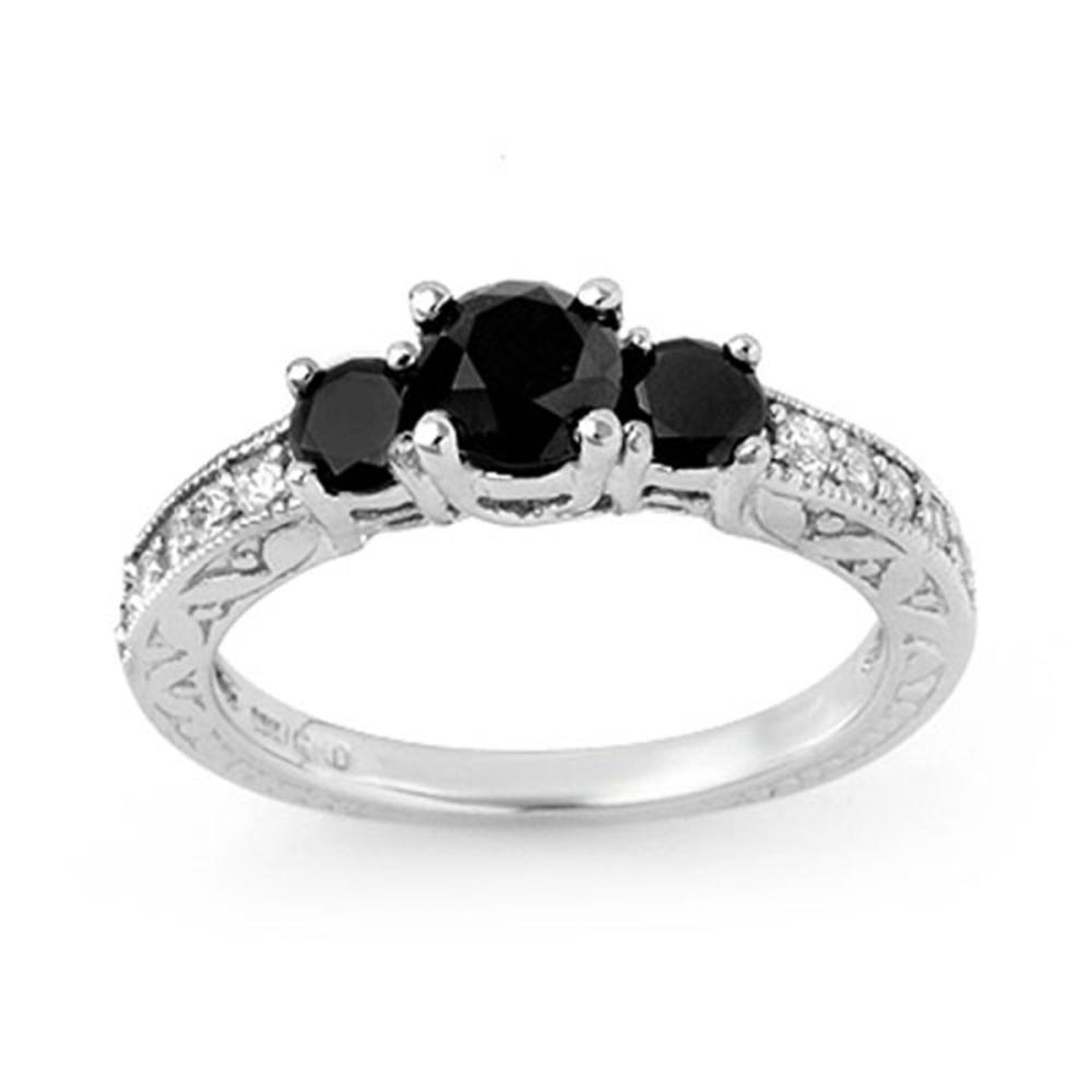 1.40 ctw VS Black & White Diamond Ring 10K White Gold - REF-63R6H - SKU:11835