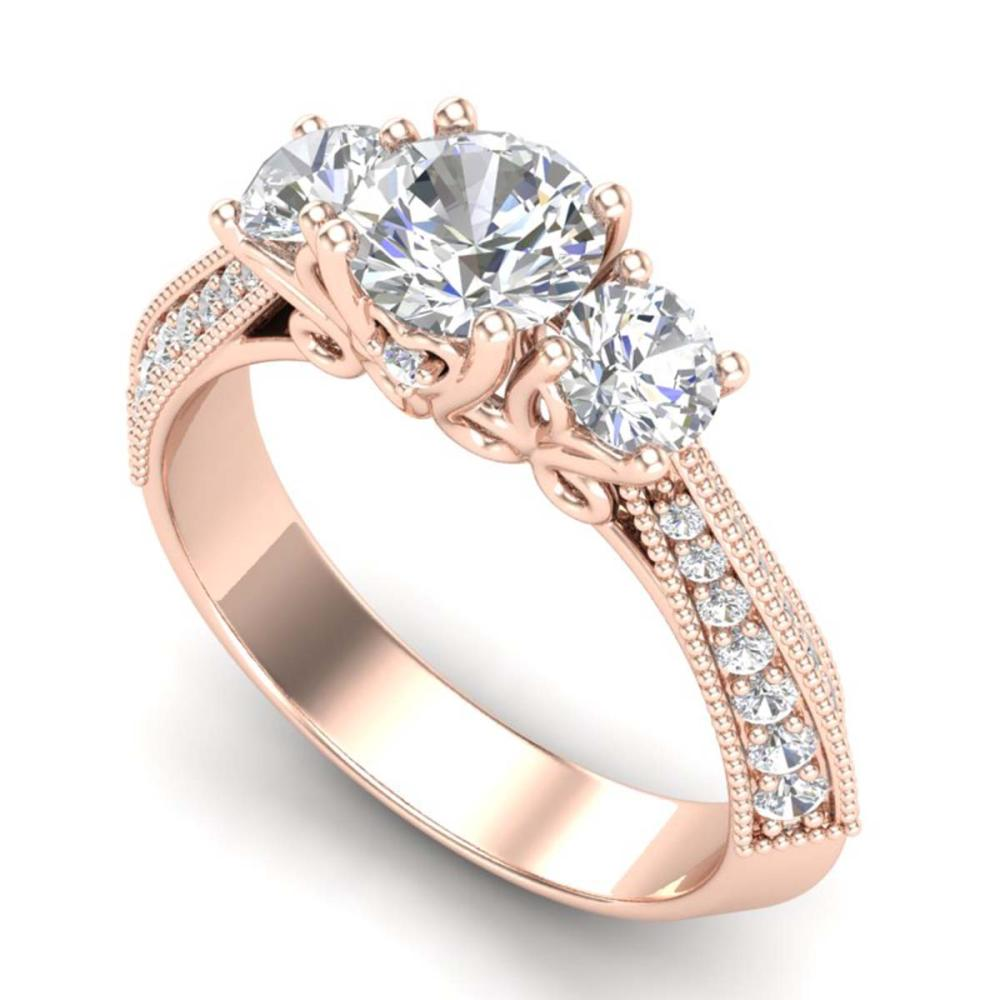 1.81 ctw VS/SI Diamond Art Deco 3-Stone Ring 18K Rose Gold - REF-272P7X - SKU:37146