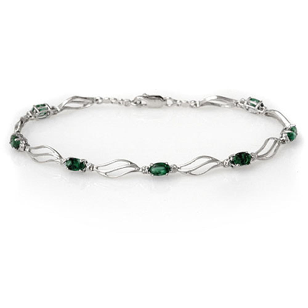 2.02 ctw Emerald & Diamond Bracelet 10K White Gold - REF-37N8P - SKU:10833