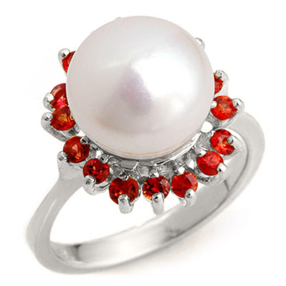 0.75 ctw Red Sapphire Ladies Ring 18K White Gold - REF-53K6R - SKU:10360