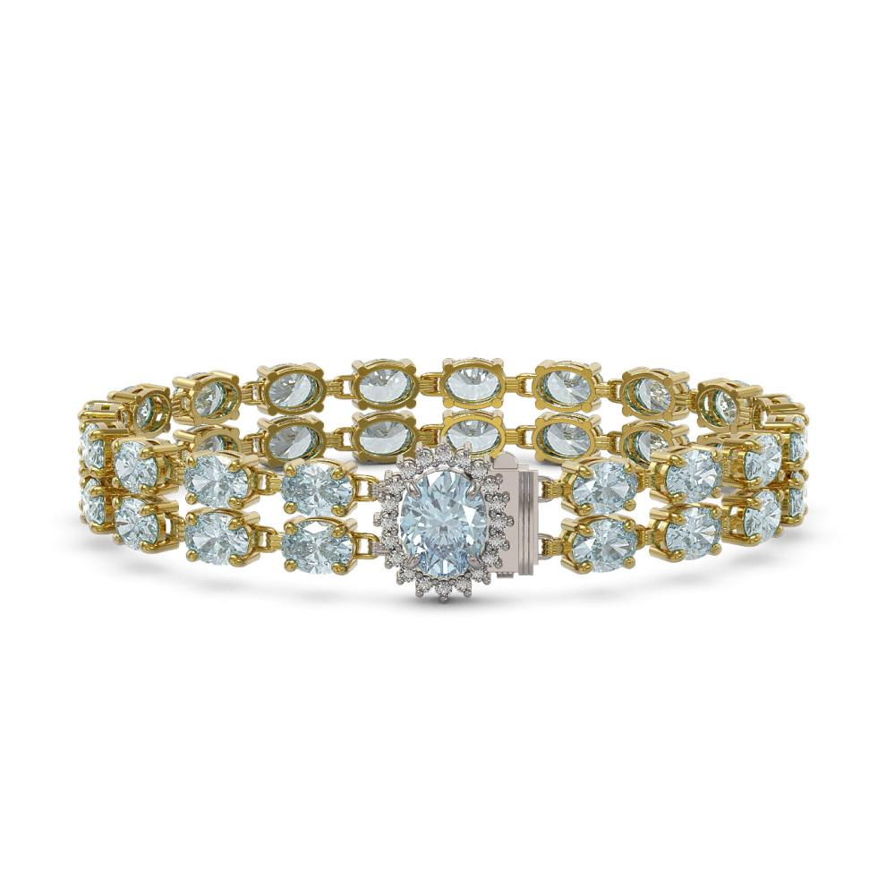 29.32 ctw Sky Topaz & Diamond Bracelet 14K Yellow Gold - REF-141R3H - SKU:45511