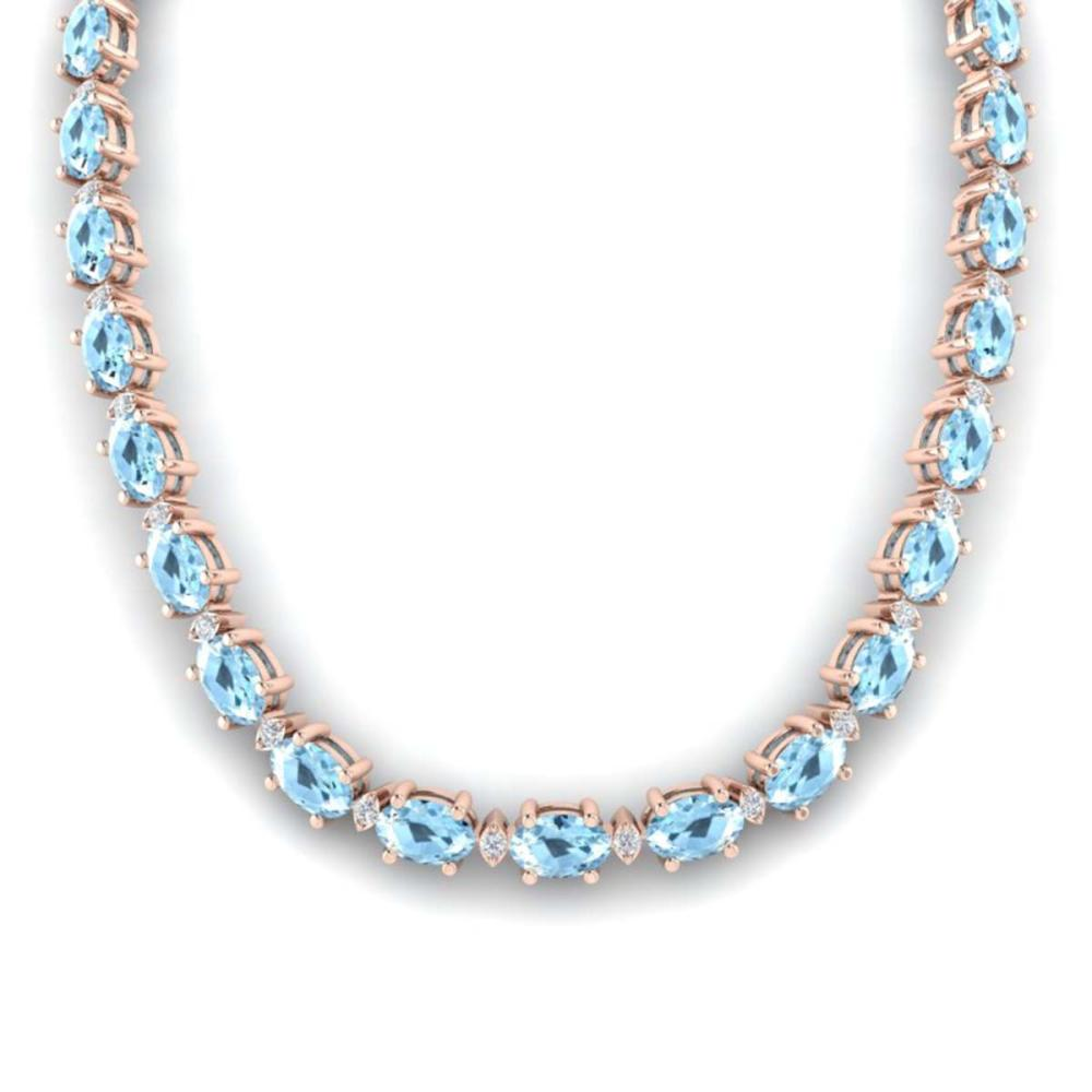 49.85 ctw Aquamarine & VS/SI Diamond Eternity Necklace 10K Rose Gold - REF-494N2P - SKU:29501
