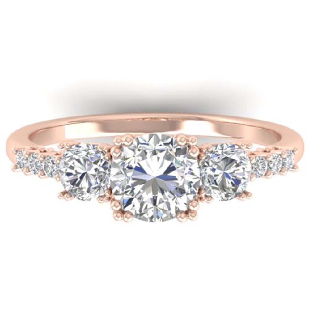 1.5 ctw VS/SI Diamond Art Deco 3-Stone Ring 14K Rose Gold - REF-215H3W - SKU:30460