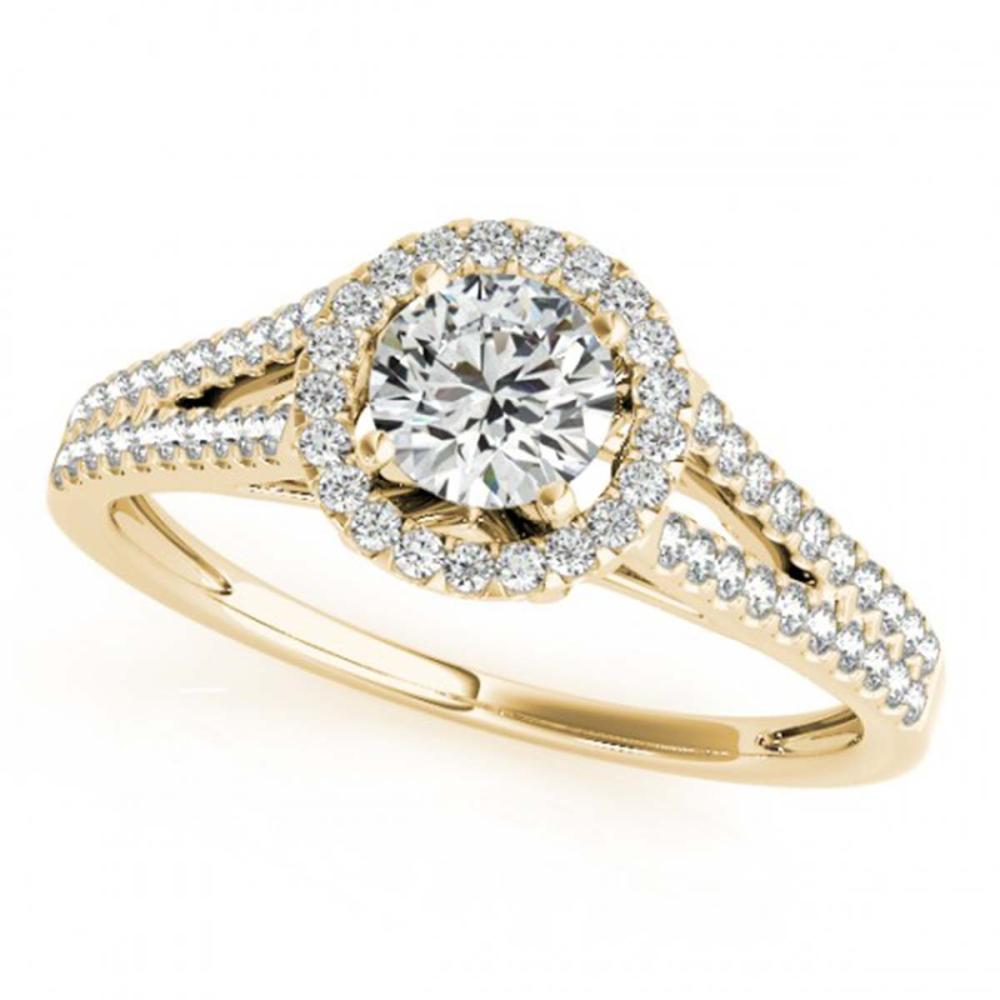 0.80 ctw VS/SI Diamond Halo Ring 18K Yellow Gold - REF-143X6Y - SKU:26645