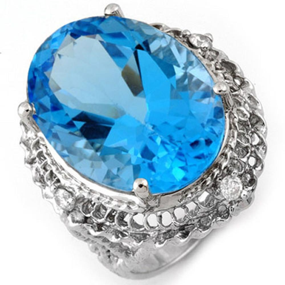 18.15 ctw Blue Topaz & Diamond Ring 10K White Gold - REF-63K6R - SKU:10784