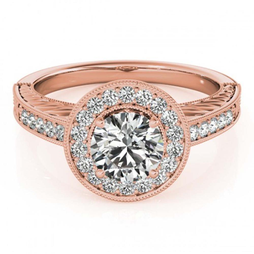 0.81 ctw VS/SI Diamond Halo Ring 18K Rose Gold - REF-107H3W - SKU:26519